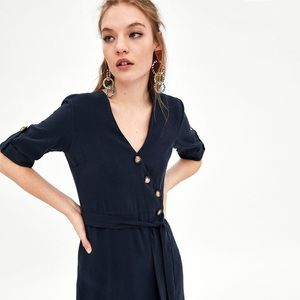 5ba643a85b7 Zara Dresses - Midi dress with buttons in navy
